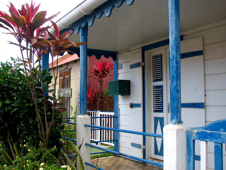 antilles-saintes-tropical-flowers-houses-colorful-pixtii-image-stock